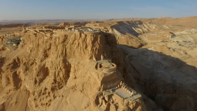 Aerial/View of sunrise at Masada, Judean Desert , Israel