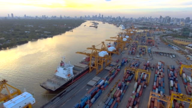 AERIAL:View of Transport Container area at dusk