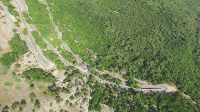 AERIAL:Winding road in mountain, top view