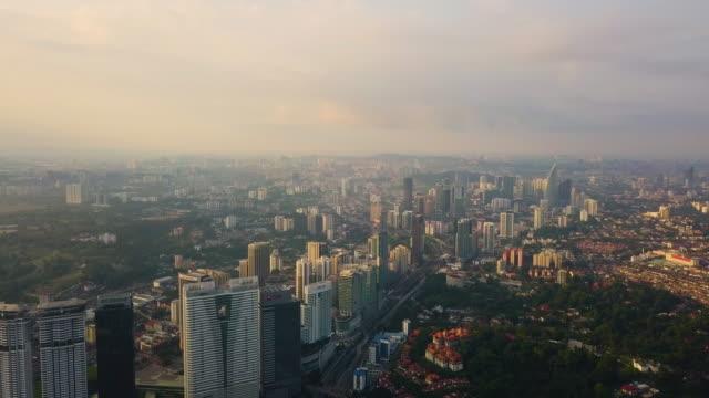 aeriel view of urban city, kuala lumpur , malaysia - kuala lumpur点の映像素材/bロール