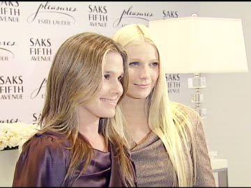 aerin lauder and gwyneth paltrow at the estee lauder launch of 'pleasures by gwyneth paltrow' press conference at saks fifth avenue in beverly hills,... - aerin lauder stock videos & royalty-free footage