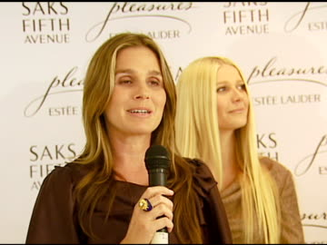 aerin lauder at the estee lauder launch of 'pleasures by gwyneth paltrow' press conference at saks fifth avenue in beverly hills, california on... - aerin lauder stock videos & royalty-free footage