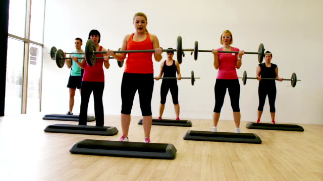 hd: aerobics - step aerobics stock videos & royalty-free footage