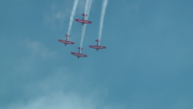 aeroshell aerobatic team flies above lake michigan during the chicago air and water show on aug. 20, 2017. - chicago air and water show stock videos & royalty-free footage