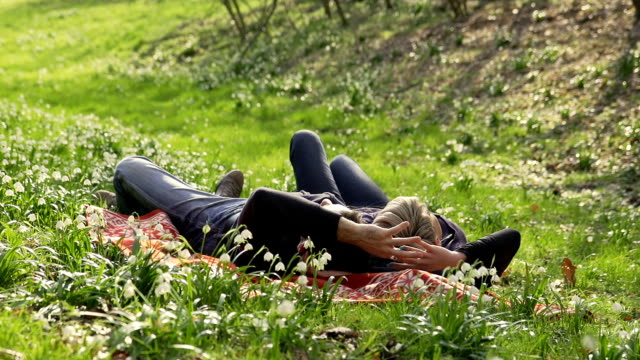 hd dolly: affectionate couple enjoying the spring - lily stock videos & royalty-free footage
