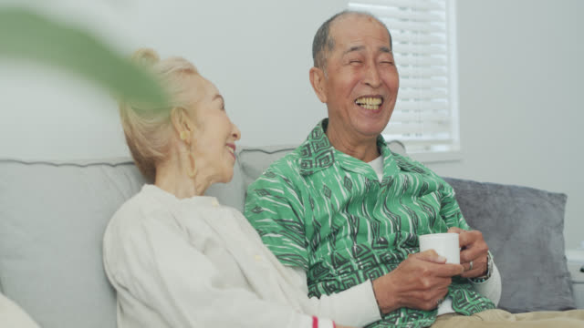 affectionate senior couple relaxing at home - senior couple stock videos & royalty-free footage