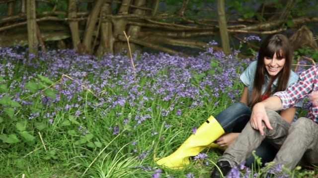 affectionate young couple in field with bluebells - guildford stock videos & royalty-free footage