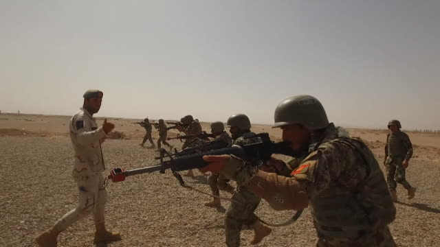 vídeos de stock e filmes b-roll de afghan army troops being trained by us marines in helmand province - helmand