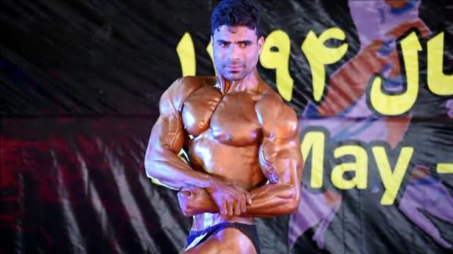 afghan bodybuilders participate in the mr afghanistan competition in kabul - body building stock videos & royalty-free footage
