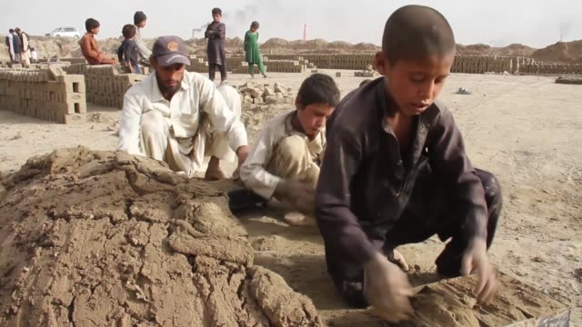 afghan children sort bricks at a local brick factory to contribute to the family income kabul afghanistan on october 8 june in afghanistan children... - working animals stock videos & royalty-free footage