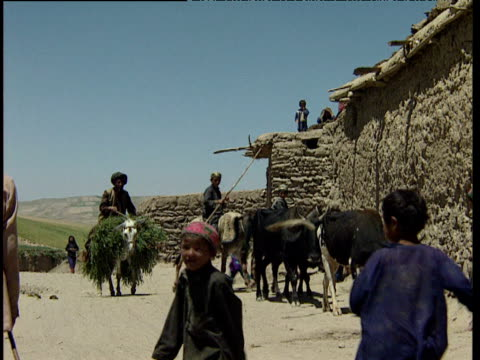 stockvideo's en b-roll-footage met afghan farmer rides horseback carrying crop as children play afghanistan - recreatief paardrijden