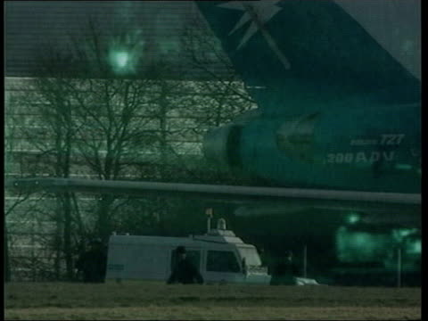 Afghan hijackers acquitted LIB Essex Stansted Airport GVs Hijacked plane on tarmac GREEN NIGHTSIGHT PIX Hijacked plane on tarmac as airline crew...