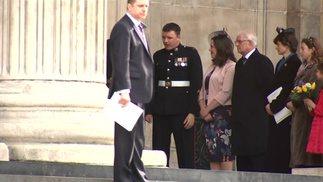 departures england london st paul's cathedral fx*** dignitaries taking their places outside entrance / queen elizabeth ii and prince philip duke of... - memorial event stock videos and b-roll footage