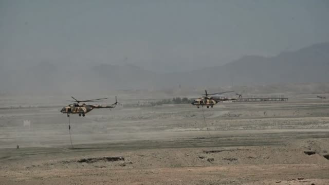 Afghan National Army soldiers participate in an exercise mission on the outskirts of Kabul