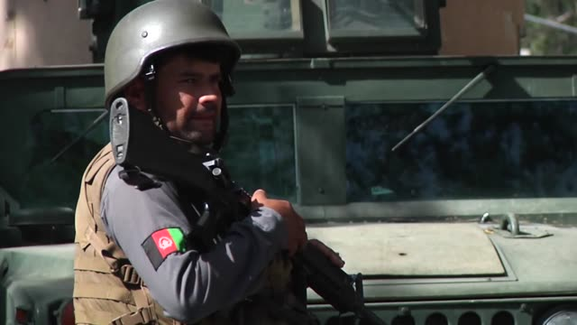 afghan national police officers and afghan national army soldiers work everyday inside the enhanced security zone manning over 25 checkpoints to keep... - afghan national army stock videos & royalty-free footage