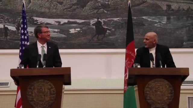 afghan president ashraf ghani and us secretary of defense ashton carter hold a joint press conference at presidential palace in kabul afghanistan on... - president stock videos & royalty-free footage