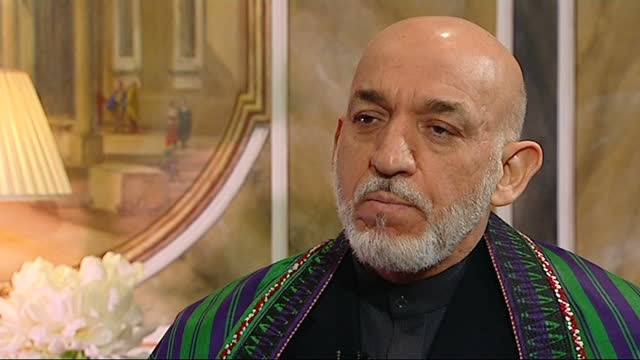 afghan president hamid karzai interview; part 5 of 10 england: london: claridge's: int hamid karzai interview sot. q: and what is the likelihood of... - only girls stock videos & royalty-free footage
