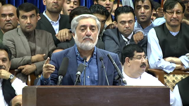 Afghan presidential candidate Abdullah Abdullah speaks during a gathering of his supporters in Kabul Afghanistan on July 08 2014 Abdullah has claimed...