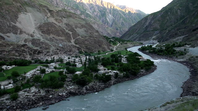 Afghan settlements on the river Panj.