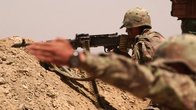 afghan soldiers firing at taliban targets - afghanistan stock videos & royalty-free footage