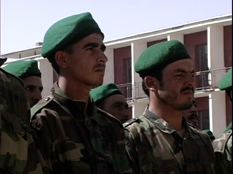 afghan soldiers standing at attention and shouting during military training / afghanistan - operazione enduring freedom video stock e b–roll