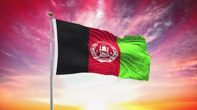 afghani-flagge, loopable, enthalten green screen chroma key-version, winken im wind slow motion animation, 4k realistische stoff textur, kontinuierliche nahtlose schleife hintergrund - afghanische flagge stock-videos und b-roll-filmmaterial
