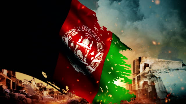 4k afghanistan flag - crisis / war / fire (loop) - afghanistan stock videos & royalty-free footage