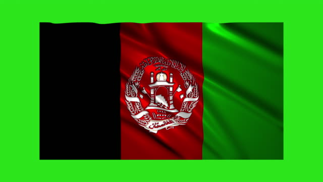 Afghanistan flag waving,loopable on green screen