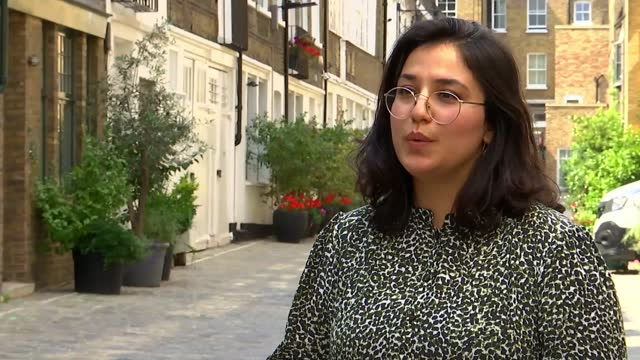 afghan civilians fear taliban revenge for helping the british; england: ext shabnam nasimi interview sot - war and conflict stock videos & royalty-free footage