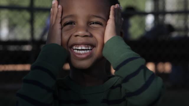 African American boy smiling