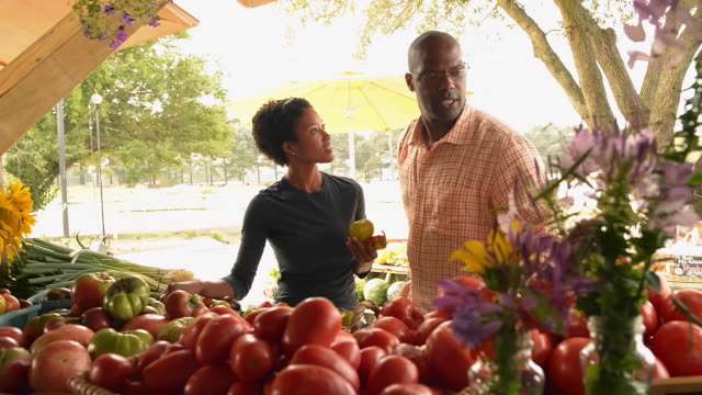 African American couple examining produce at farm stand