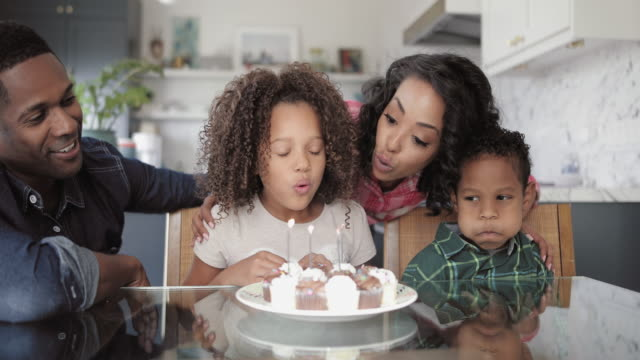 African American family celebrating a birthday