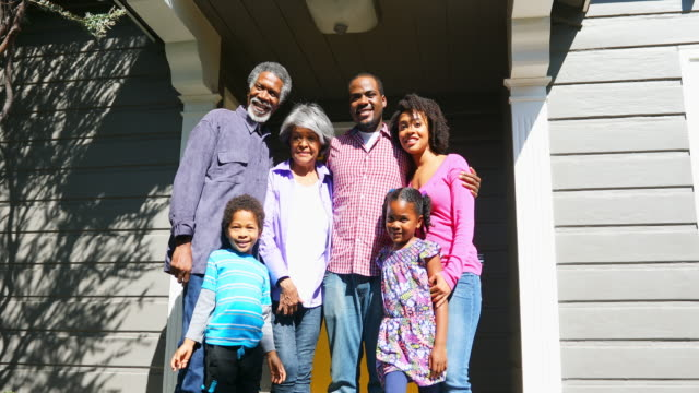 African American Family Together on the Porch