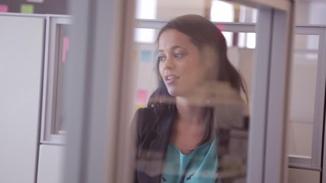 african american female executive chats with colleague in cubicle - formella kontorskläder bildbanksvideor och videomaterial från bakom kulisserna