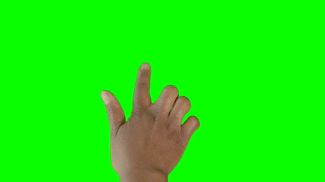 HD: African American Hand Clicking on Green Screen