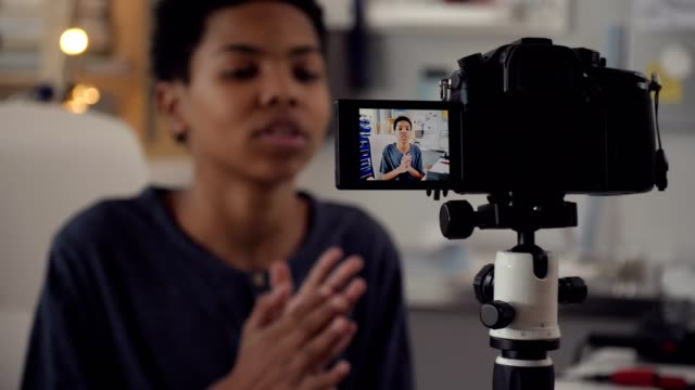 african american male teenage vlogger - presenter stock videos & royalty-free footage