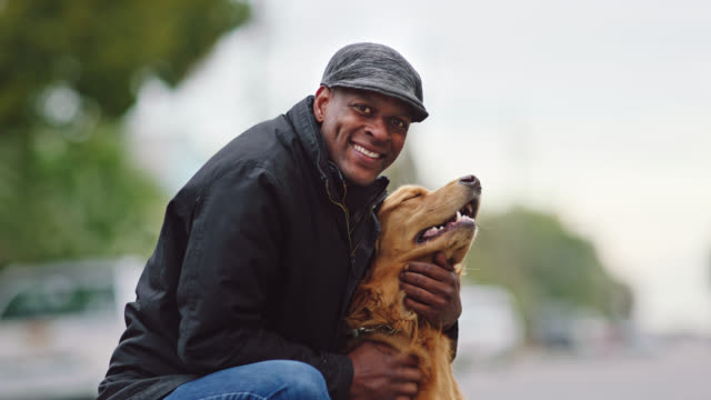slo mo. african american man lovingly pets dog and smiles at camera. - haustierbesitzer stock-videos und b-roll-filmmaterial