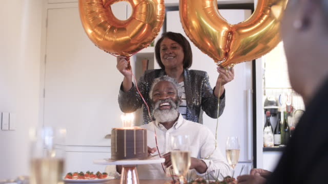 african american man's 60th birthday, medium shot - married stock videos & royalty-free footage