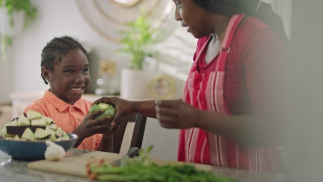 african american mother hands her son an artichoke as she teaches him about cooking in the kitchen. - asking stock videos & royalty-free footage
