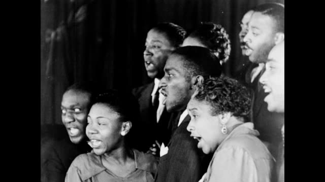 african american performers sing spiritual music around a piano / juanita hall directs choir wpa arts music program the spiritual on january 01 1937 - 1937 stock videos and b-roll footage