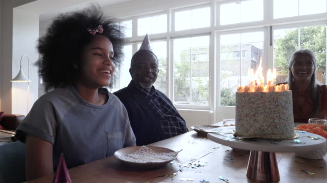 african american young girl birthday party, medium shot - birthday candle stock videos & royalty-free footage