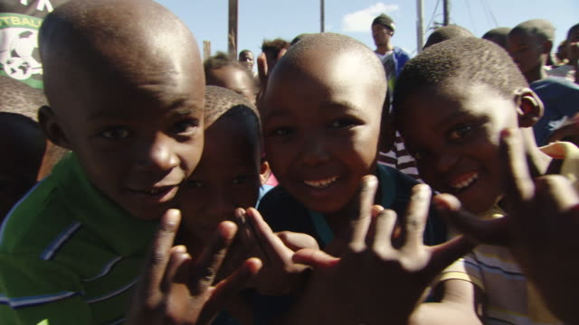 CU African children giving pose to take picture / Cape Town, South Africa