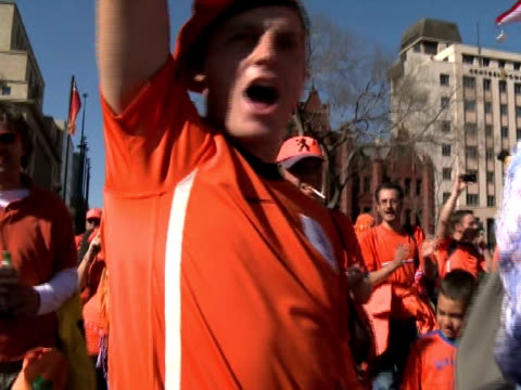 african city of pretoria on sunday where an 'oranje camping' was set up during the world cup locals cheered and waved as the orange army made their... - oranje stock videos & royalty-free footage