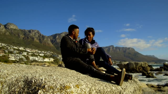African couple at Camps Bay, South Africa