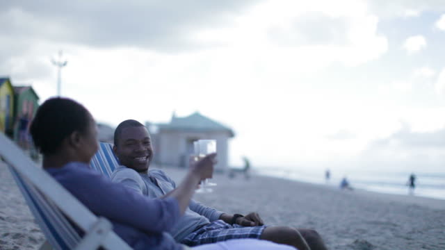 african couple on the beach - cape town stock videos & royalty-free footage