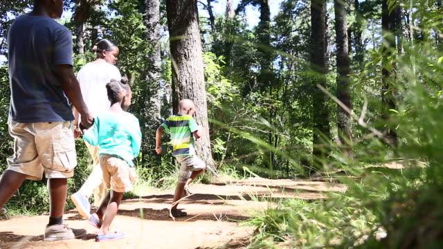 vídeos de stock e filmes b-roll de africano família caminhar na natureza - andar em bico de pés