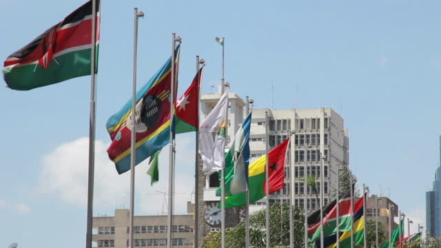african flags in nairobi - nairobi stock videos and b-roll footage