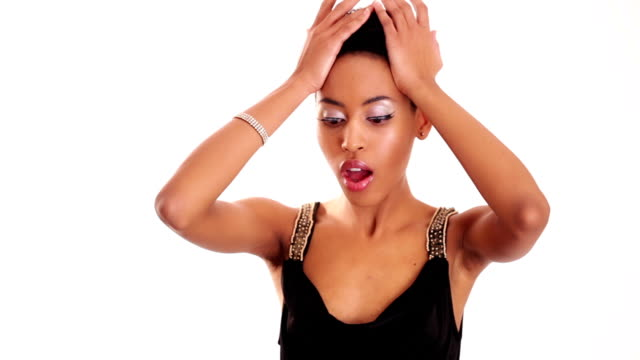 african girl is worrying - short hair stock videos & royalty-free footage