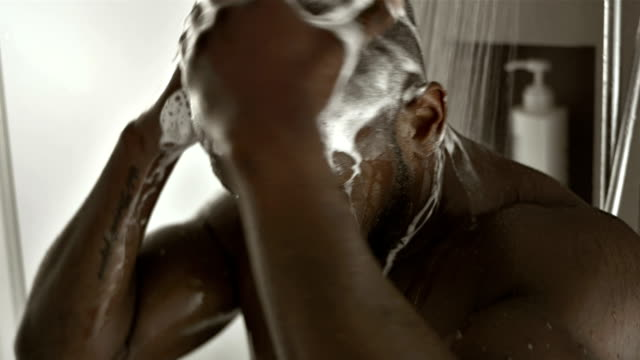 CU TU African Man Washing His Hair