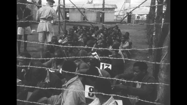 african men in a barbed wire pen holding area are given numbers from a british soldier, handcuffed prisoners lined up in a building awaiting trial. - rebellion stock videos & royalty-free footage